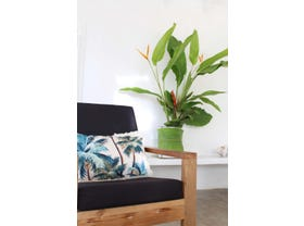 Palm Trees Cushion with Retro Fringe in Natural-35 x 50