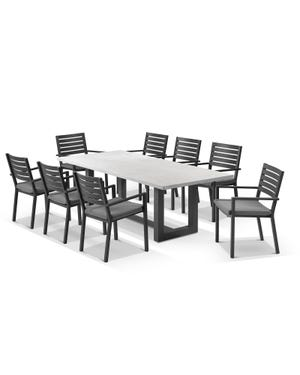 Geo table with Mayfair Chairs 9pc Outdoor Dining Setting