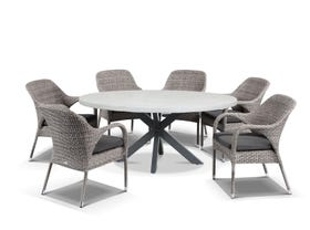 Geo Round Table with Essex Chairs 7pc Outdoor Dining Setting