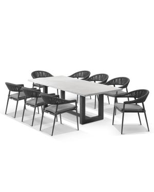 Geo table with Nivala Chairs 9pc Outdoor Dining Setting