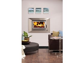 Heatcharm I-600 Series 6 Inbuilt Wood Burning Fireplace in Stainless Steel