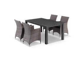 Adele 5pc Dining Setting - 165x95 Table with 4 Mateus Dining Chairs in Lavash/Coal