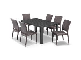 Adele 7pc Dining Setting - 165x95 Table with Lucerne 6 Armless Dining Chairs in Lavash