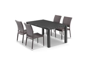 Adele 5pc Dining Setting - 165x95 Table with Lucerne 4 Armless Dining Chairs in Lavash