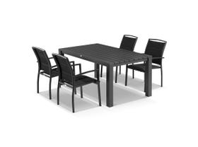 Adele 5pc Dining Setting - 165x95 Table with 4 Verde Dining Chairs in Charcoal/Black