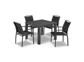 Adele 5pc Dining Setting - 95x95 Table with 4 Verde Dining Chairs in Charcoal/Black