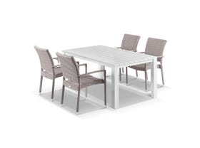 Adele 5pc Dining Setting - 165x95 Table with Lucerne 4 Arm Dining Chairs in Elk