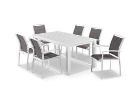 Adele 7pc Dining Setting - White 165x95 Table with 6 Verde Dining Chairs in White/Mocha