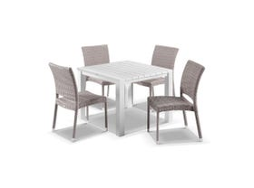 Adele 5pc Dining Setting - 95x95 Table with Lucerne 4 Armless Dining Chairs in Elk