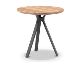 Larsen 600x600 Round Side Table in Natural Teak/ Charcoal