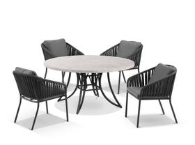 Luna 160cm Round Table with Java Chairs 5pc Outdoor Dining Setting
