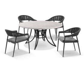 Luna 160cm Round Table with Nivala Chairs 5pc Outdoor Dining Setting