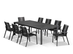 Bergen Ceramic Extension Table with Sevilla Rope Dining Chairs -9pc Outdoor Dining Setting