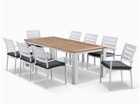 corfu teak outdoor dining setting 9pc with Latina chairs