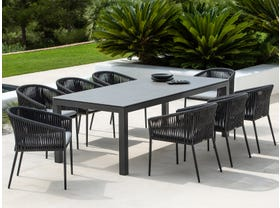 Danli Ceramic Table with Gizella Chairs 9pc Outdoor Dining Setting