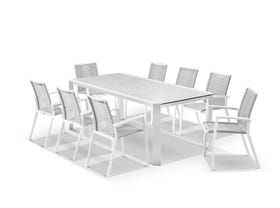 Tellaro Ceramic  Table With Sevilla Rope Chairs 9pc Outdoor Dining Setting