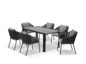 Tellaro Ceramic Table With Java Chairs 7pc Outdoor Dining Setting