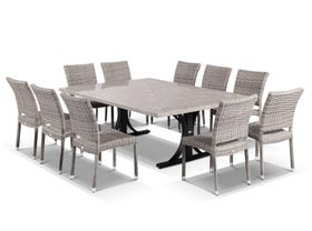 Luna 210 with Lucerne Armless 11pc Dining Setting