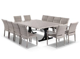 Luna 210 Table with  Lucerne Armless and Lucerne Arms Chairs -13pc Outdoor Setting