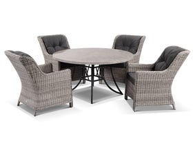Luna 140cm Round Table with Somerset Chairs -5pc Outdoor Dining Setting