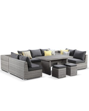 Maldives 9 seater modular in moonscape and canvas coal