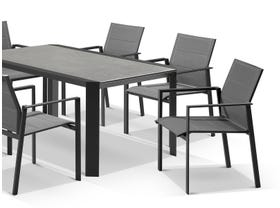 Tellaro Ceramic Table With Meribel Chairs 7pc Outdoor Dining Setting