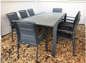 Tellaro Glass Top Extension Table with Verde Chairs -9pc Outdoor Setting